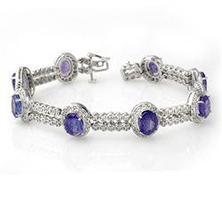 21.25 CTW Tanzanite & Diamond Bracelet 18K White Gold - REF-578A4X - 11746
