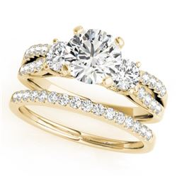 1.46 CTW Certified VS/SI Diamond 3 Stone 2Pc Wedding Set 14K Yellow Gold - REF-224N4Y - 32041