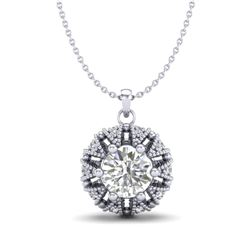 1.2 CTW VS/SI Diamond Art Deco Micro Pave Stud Necklace 18K White Gold - REF-220N2Y - 36998