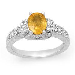2.25 CTW Yellow Sapphire & Diamond Ring 14K White Gold - REF-64M8H - 14192