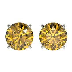 2 CTW Certified Intense Yellow SI Diamond Solitaire Stud Earrings 10K White Gold - REF-297A2X - 3308