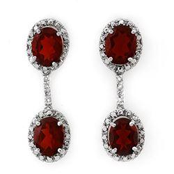 8.10 CTW Garnet & Diamond Earrings 14K White Gold - REF-46Y2K - 10021