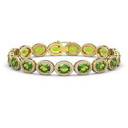 21.13 CTW Peridot & Diamond Halo Bracelet 10K Yellow Gold - REF-286A5X - 40630