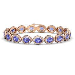 19.14 CTW Tanzanite & Diamond Halo Bracelet 10K Rose Gold - REF-396A5X - 41100