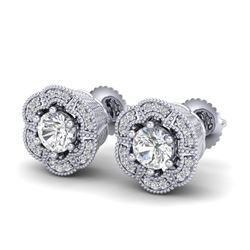1.51 CTW VS/SI Diamond Solitaire Art Deco Stud Earrings 18K White Gold - REF-263Y6K - 37106