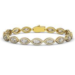 12.16 CTW Marquise Diamond Designer Bracelet 18K Yellow Gold - REF-2256H2A - 42745