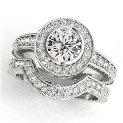 1.54 CTW Certified VS/SI Diamond 2Pc Wedding Set Solitaire Halo 14K White Gold - REF-407X3T - 31049