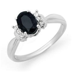 1.05 CTW Blue Sapphire & Diamond Ring 10K White Gold - REF-22A8X - 12899