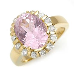 7.65 CTW Kunzite & Diamond Ring 10K Yellow Gold - REF-99H6A - 11246
