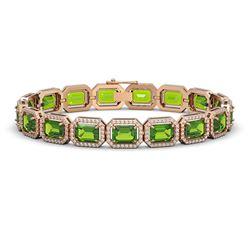 25.41 CTW Peridot & Diamond Halo Bracelet 10K Rose Gold - REF-365F8N - 41406