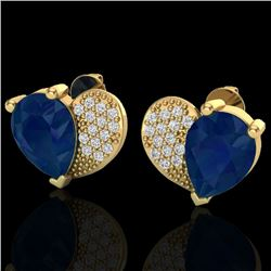2.50 CTW Sapphire & Micro Pave VS/SI Diamond Earrings 10K Yellow Gold - REF-31K8W - 20080