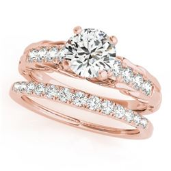 1.29 CTW Certified VS/SI Diamond Solitaire 2Pc Wedding Set 14K Rose Gold - REF-374Y9K - 31650