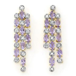 4.08 CTW Tanzanite & Diamond Earrings 14K Yellow Gold - REF-118H2A - 13829