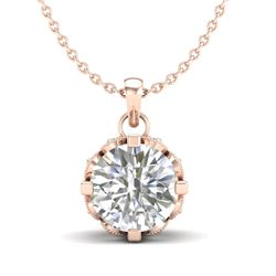 1.14 CTW VS/SI Diamond Solitaire Art Deco Stud Necklace 18K Rose Gold - REF-205N5Y - 36843