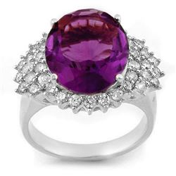 8.18 CTW Amethyst & Diamond Ring 18K White Gold - REF-129N3Y - 11160