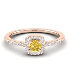 0.45 CTW Citrine & Micro Pave VS/SI Diamond Ring Designer Halo 14K Rose Gold - REF-25Y3K - 21371