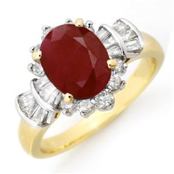 2.22 CTW Ruby & Diamond Ring 14K Yellow Gold - REF-80T2M - 13071