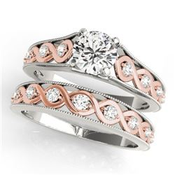 0.92 CTW Certified VS/SI Diamond Solitaire 2Pc Set 14K White & Rose Gold - REF-138W2F - 31660
