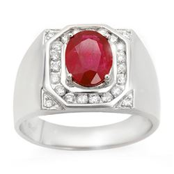 3.60 CTW Ruby & Diamond Men's Ring 14K White Gold - REF-104M5H - 14467