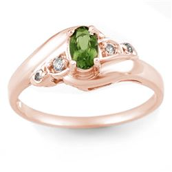 0.42 CTW Green Tourmaline & Diamond Ring 14K Rose Gold - REF-25T6M - 10867