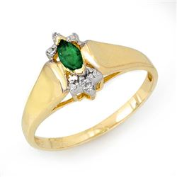 0.22 CTW Emerald & Diamond Ring 10K Yellow Gold - REF-14H2A - 13749