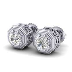 1.07 CTW VS/SI Diamond Solitaire Art Deco Stud Earrings 18K White Gold - REF-190A9X - 37094