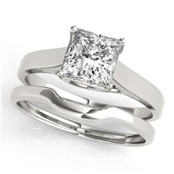 0.75 CTW Certified VS/SI Princess Diamond 2Pc Wedding Set 14K White Gold - REF-204M5H - 32102