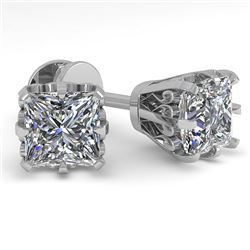 1.0 CTW VS/SI Princess Diamond Stud Solitaire Earrings 18K White Gold - REF-178W2F - 35673