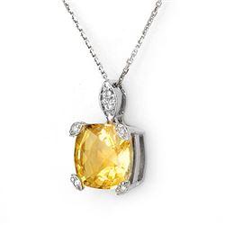 5.10 CTW Citrine & Diamond Necklace 18K White Gold - REF-40A9X - 11309