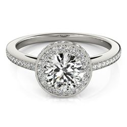 1.55 CTW Certified VS/SI Diamond Solitaire Halo Ring 18K White Gold - REF-408X2T - 26922