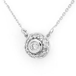 0.45 CTW Certified VS/SI Diamond Necklace 18K White Gold - REF-62F9N - 11462