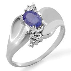 0.54 CTW Tanzanite & Diamond Ring 18K White Gold - REF-42N4Y - 11481