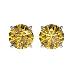 1.54 CTW Certified Intense Yellow SI Diamond Solitaire Stud Earrings 10K White Gold - REF-192F2N - 3