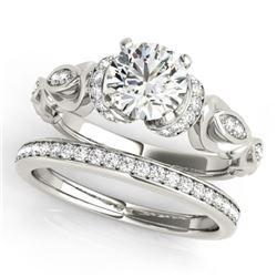 1.4 CTW Certified VS/SI Diamond Solitaire 2Pc Wedding Set Antique 14K White Gold - REF-384M8H - 3147