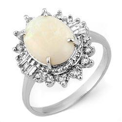 3.45 CTW Opal & Diamond Ring 10K White Gold - REF-57H3A - 11525
