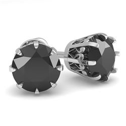 2.0 CTW Black Diamond Stud Solitaire Earrings 18K White Gold - REF-70A9X - 35691