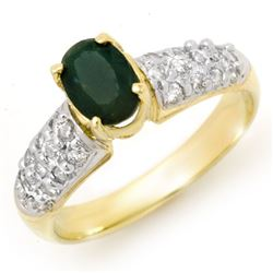 1.50 CTW Emerald & Diamond Ring 10K Yellow Gold - REF-52H8A - 13263