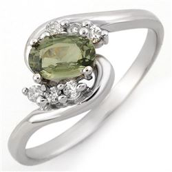 0.70 CTW Green Sapphire & Diamond Ring 10K White Gold - REF-17W5F - 10505