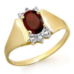 1.03 CTW Garnet & Diamond Ring 10K Yellow Gold - REF-15W3F - 12886
