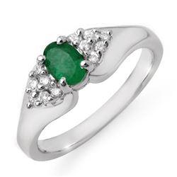 0.63 CTW Emerald & Diamond Ring 14K White Gold - REF-38A2X - 12538