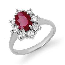 2.50 CTW Ruby & Diamond Ring 14K White Gold - REF-70W9F - 13193
