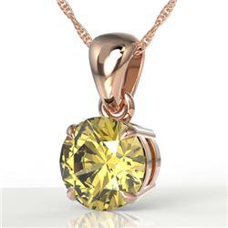 2 CTW Citrine Designer Inspired Solitaire Necklace 14K Rose Gold - REF-24M4H - 22017