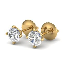 1.01 CTW VS/SI Diamond Solitaire Art Deco Stud Earrings 18K Yellow Gold - REF-180A2X - 37300