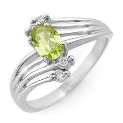0.55 CTW Peridot & Diamond Ring 18K White Gold - REF-40F2N - 13437