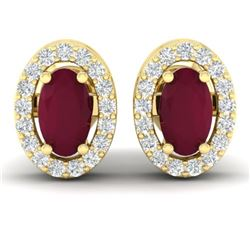 1.02 CTW Ruby & Micro Pave VS/SI Diamond Earrings Halo 18K Yellow Gold - REF-32T8M - 21192