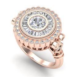 2.03 CTW VS/SI Diamond Solitaire Art Deco Ring 18K Rose Gold - REF-327W3F - 37080