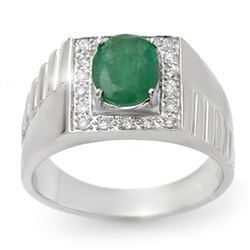 2.25 CTW Emerald & Diamond Men's Ring 10K White Gold - REF-47Y8K - 13419