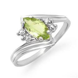 0.48 CTW Peridot & Diamond Ring 10K White Gold - REF-13Y3K - 12787