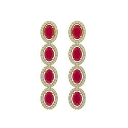 6.47 CTW Ruby & Diamond Halo Earrings 10K Yellow Gold - REF-114H2A - 40507