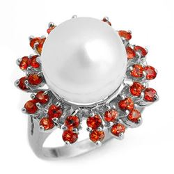 1.50 CTW Red Sapphire & Pearl Ring 18K White Gold - REF-95Y3K - 10446